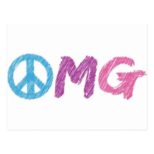 omg peace sign postcard