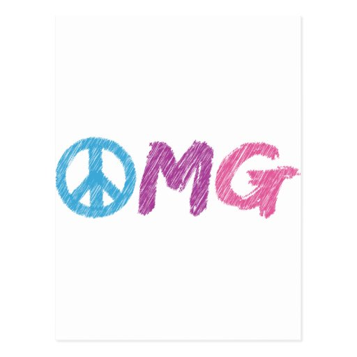 omg peace sign post card
