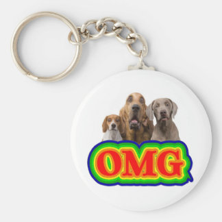 OMG Rainbow with surprised dogs! Basic Round Button Key Ring