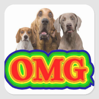 OMG Rainbow with surprised dogs! Square Stickers