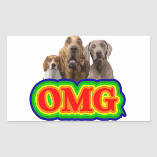 OMG Rainbow with surprised dogs! Rectangular Stickers