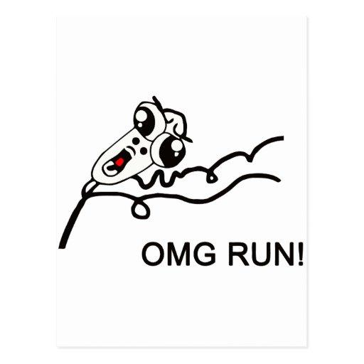 OMG run! - meme Postcards