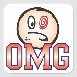 OMG Text Head Square Sticker