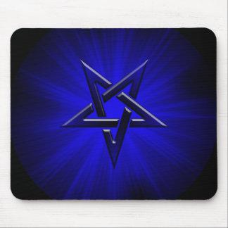 Ominous Blue Inverted Pentagram Mouse Mat
