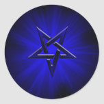 Ominous Blue Inverted Pentagram Classic Round Sticker