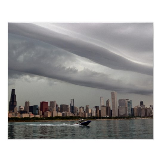 Ominous Chicago Skyline Poster