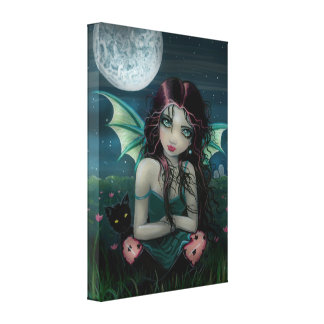 Ominously Sweet Vampire Fairy Wrapped Canvas Print