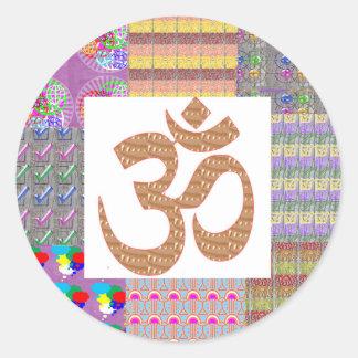 OmMantra Mantra Art Devotion NVN191 NavinJOSHI fun Round Stickers