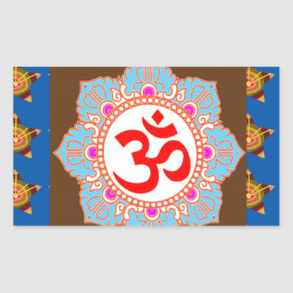 OmMANTRA Mantra Art Temple Hinduism Buddhism Bless Rectangular Sticker