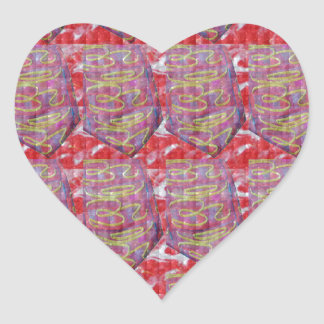 OMmantra mantra microart Ritual Ethnic Red Golden Heart Stickers