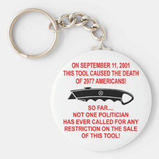 On 9-11 This Tool (a box cutter) Caused The Death Basic Round Button Key Ring
