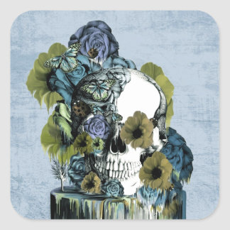On a pedestal, melting rose skull square sticker