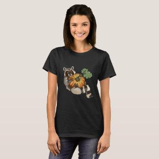On a Roll Raccoon Pumpkin Autumn T-Shirt