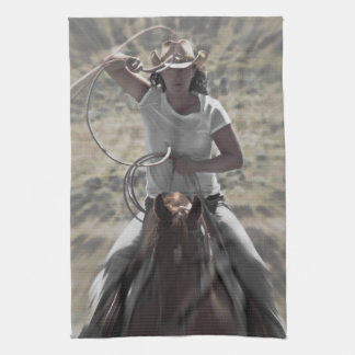 On a Rope and a Prayer Cowgirl Kitchen Towel