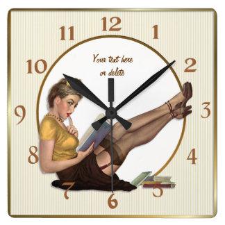 On Break Pin Up Librarian - Customize Wall Clock
