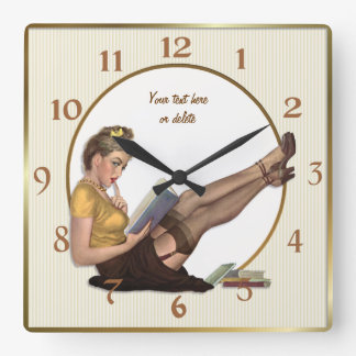 On Break Pin Up Librarian - Customize Wallclock