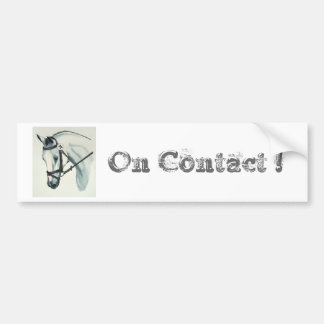 On Contact WHITE Dressage Horse Bumper Sticker