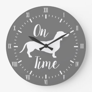On Dachshund Time Gray & White Large Clock