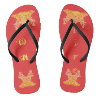 On Fire Black Adult, Slim Straps Flip Flops