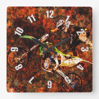 """On Fire"" Freestyle Motocross Rider Square Wall Clock"