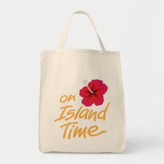 On Island Time Souvenir Tote with Hibiscus