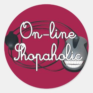 On-Line Shopaholic Round Sticker