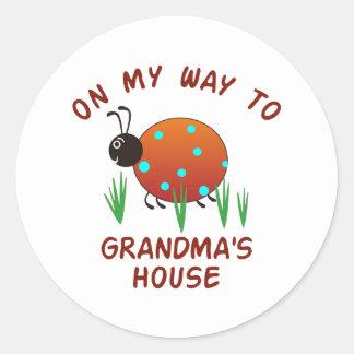 ON MY WAY TO GRANDMAS ROUND STICKER