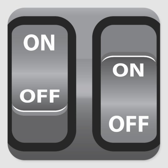 On Off Switch Square Sticker