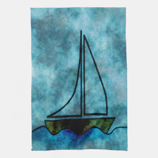 On Stormy Seas Sailboat Tea Towel