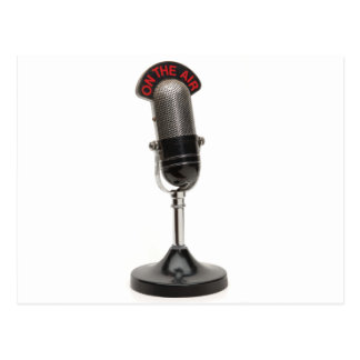 ON THE AIR Vintage Microphone Postcard