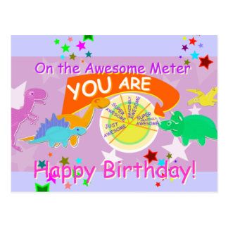On the Awesome Meter You are Awesome Birthday Postcard