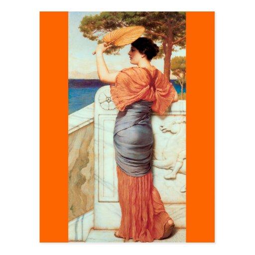 On The Balcony - Godward Post Card