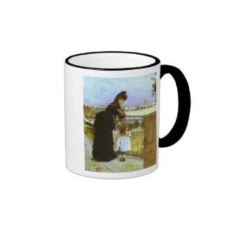 On The Balcony Ringer Coffee Mug