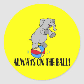 On The Ball Elephant Round Sticker