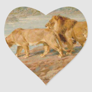 On the Bank of an African River by Briton Riviere Heart Sticker
