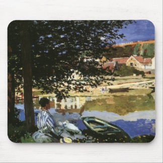 On the Bank of Seine, Monet, Vintage Impressionism Mouse Pad