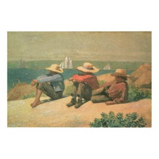 On the Beach, 1875 (w/c) Wood Print