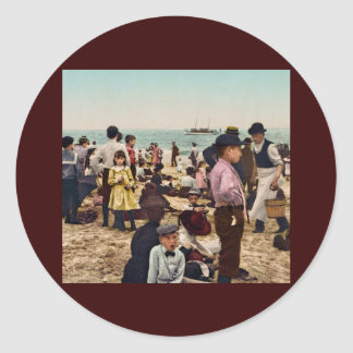 On the beach at Coney Island New York Round Sticker