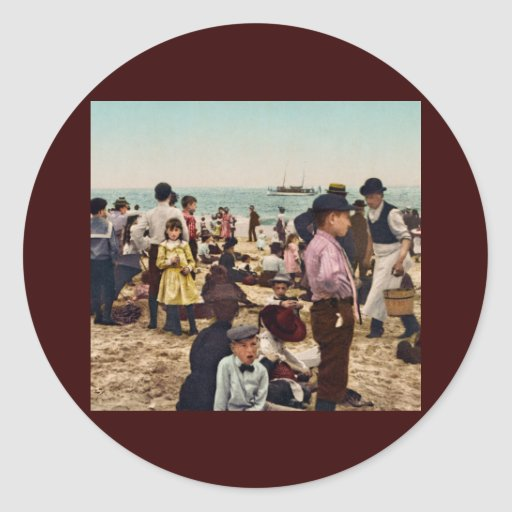 On the beach at Coney Island New York Round Sticker
