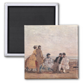 On the Beach at Trouville, c.1865 Square Magnet