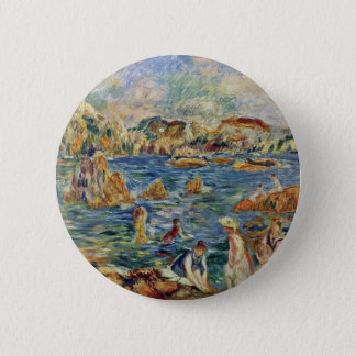 On The Beach In Guernsey By Pierre-Auguste 6 Cm Round Badge