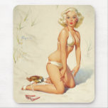 On the Beach Retro Pin-up Girl Mouse Pad
