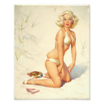 On the Beach Retro Pin-up Girl Photo Print