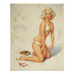 On the Beach Retro Pin-up Girl Poster