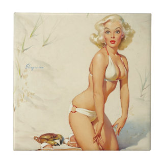 On the Beach Retro Pin-up Girl Small Square Tile