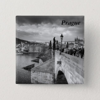 on the Charles Bridge under a stormy sky in Prague 15 Cm Square Badge