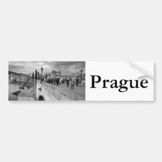 on the Charles Bridge under a stormy sky in Prague Bumper Sticker