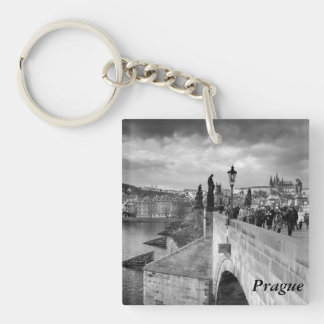 on the Charles Bridge under a stormy sky in Prague Key Ring