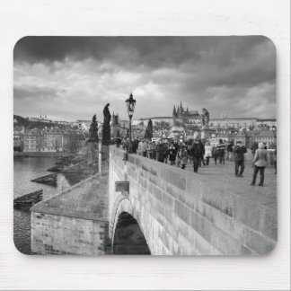 on the Charles Bridge under a stormy sky in Prague Mouse Mat