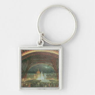 On the esplanade of the Champs de Mars Silver-Colored Square Key Ring
